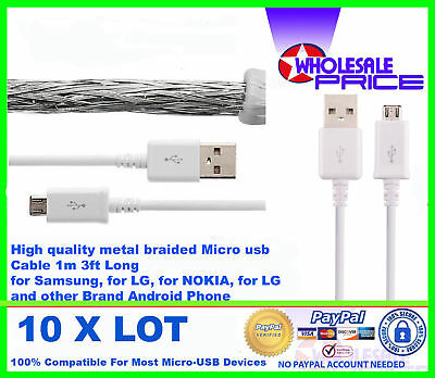 10x Original Micro Usb Charger Data Cable For Samsung Galaxy S4/s5/s6/s7 Note 4