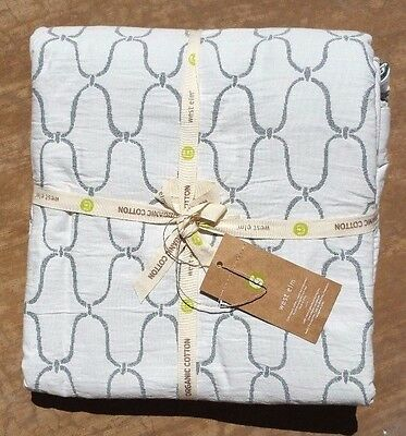 West Elm ~ Bristol Matelasse Duvet Cover ~ Full / Queen ~ Stone White / Blue