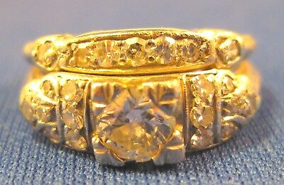 Vintage Platinum ~ Diamond Engagement Wedding Ring Set ~attached Pair Size 5-3/4
