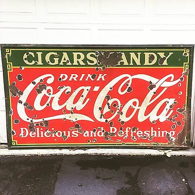 Original Coca Cola Porcelain Sign Coke Advertising Vintage Soda