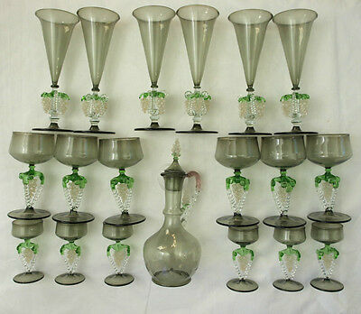 Beautiful Vintage Set Of (18) Seguso Smoky Hanging Grape Glasses And Decanter