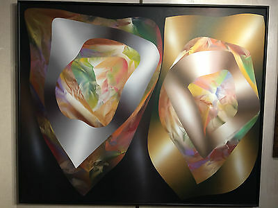 """""""geometric Abstract"""" By Peter Mackie 69x57 Large Painting Original Work New York"""