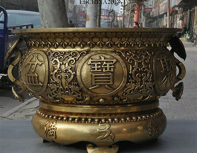 Marked Chinese Pure Brass Dragon Lucky Ruyi Treasure Bowl Statue Incense Burner