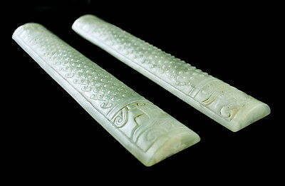 "9"" Chinese Jade Scroll Weights"