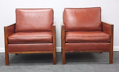 Pair Of Mid Century Solid Walnut And Genuine Leather Lounge Chairs
