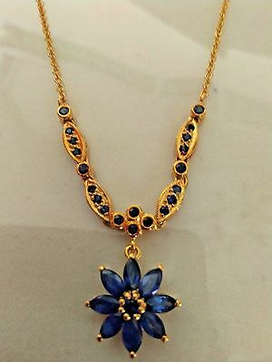 Fashion Women Jewelry Yellow Gold Necklace Chain Vintage Sapphire