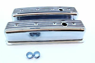 Chev Small Block Vortec Engine Nostalgia Tall Style Finned Alloy Rocker Covers