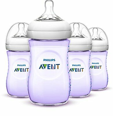 Philips Avent Natural Baby Bottles, Purple, 9 Ounce, (4 Pack) Girls