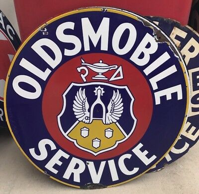 "Single Sided Original 1920s 30s Oldsmobile 42"" Dealership Sign"