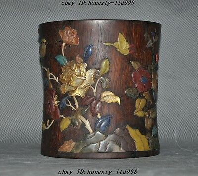 Old China Huanghuali Wood Inlay Shell Flower Bird Statue Brush Pot Pencil Vase