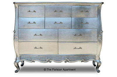 Silver Leaf Large Chest Of 10 Drawers Vanity Dresser
