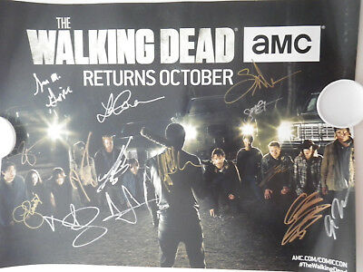 2016 Sdcc The Walking Dead Cast Autographed Signed 11x17 Poster Exclusive