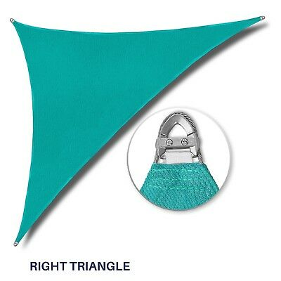 "Turquoise 32-48ft Right Triangle Heavy Duty Steel Wire Sun Shade Sail W/8"" Kit"