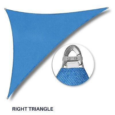 "Blue 32-48ft Right Triangle Heavy Duty Steel Wire Sun Shade Sail Patio W/8"" Kit"