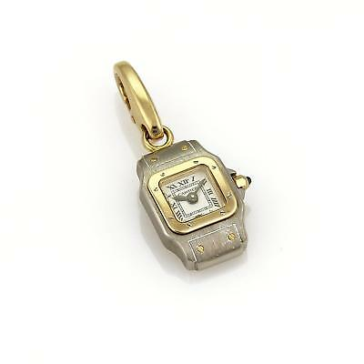cartier santos watch style collectible charm in 18k yellow gold
