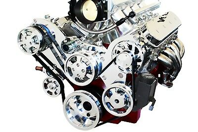 Ls Serpentine Front Runner Pulley Drive Kit Polished/chrome W/res Ls1 Ls2 Ls6