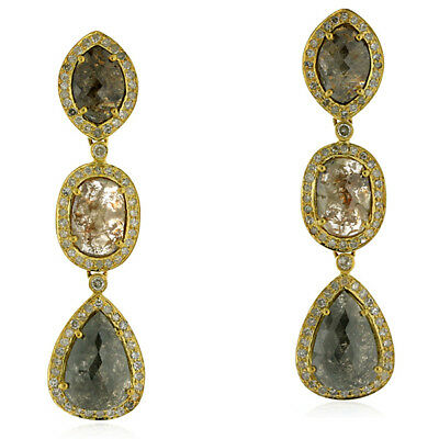 free shipping !! 18kt solid yellow gold 10.71ct diamond journey earrings jewelry
