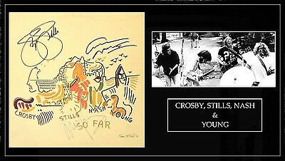 crosby stills nash and young signed so far record album  free xress 3 day ship