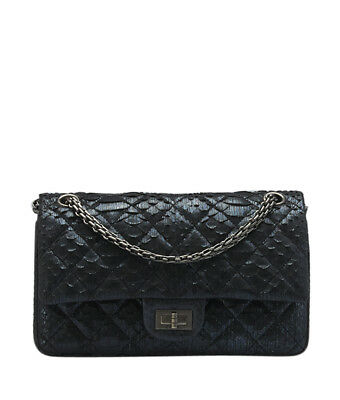 chanel a48877 blue python 2.55 flap shoulder bag
