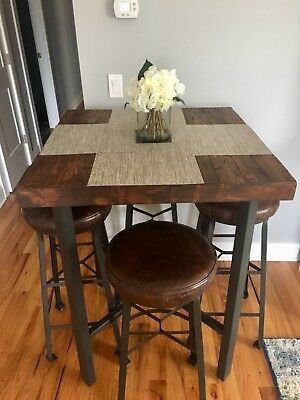 Pottery Barn Reclaimed Wood & Wrought Iron Bar Height Dining Set