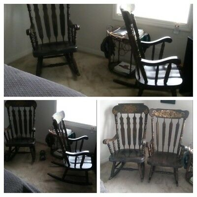 vintage wooden brown rocking chairs... lot of two chairs...