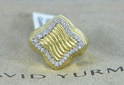$4,750 Retired David Yurman 18k Yellow Gold Quatrefoil Diamond Ring Size 6.5