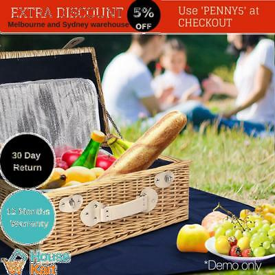 wicker picnic basket 2 person blanket carry park cutlery bbq cooler bag gift new