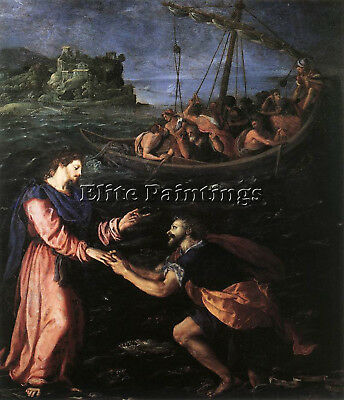 Allori Alessandro St Peter Walking Water Artist Painting Oil Canvas Repro Art