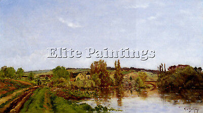 Delpy Hippolyte Camille Walking Along River Artist Painting Oil Canvas Repro
