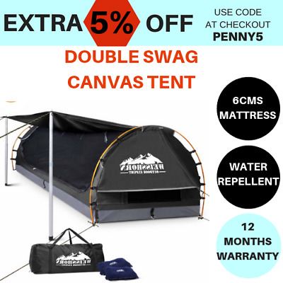 camping tent double swags canvas free standing dome bag navy dark grey