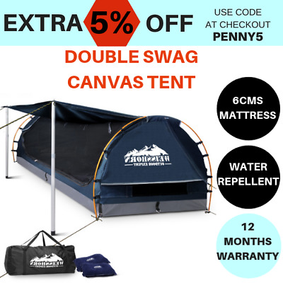 camping tent double swags canvas free standing dome bag blue