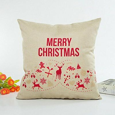 Challyhope Christmas Letter Print Throw Pillow Cases Linen Sofa Cushion Cover Ho