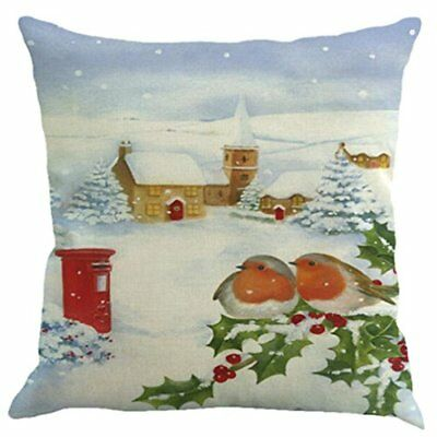 Challyhope Christmas Snow Landscape Cute Birds Cotton Linen Throw Pillow Cases W
