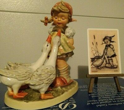 """Hummel Sold Out  L.e. Goose Girl 12 1/2""""  W/box, Easel And Plaque"""
