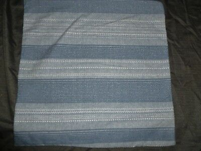"""Tahari Home Throw Pillow Cover Blue Textured Stripes, White On Back Side 18"""""""