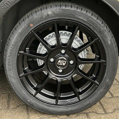 """Msw 85 Alloy Wheels Smart Fortwo 453 All - Season Tyres Kumho 16 """" Black By Oz"""