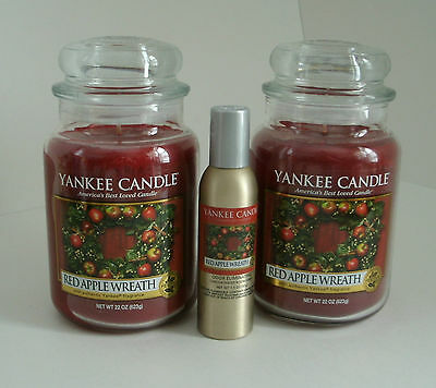 2 Yankee Candle 22 Oz. Jars Red Apple Wreath & Room Spray New Free Shipping
