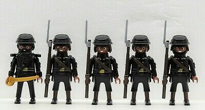 5 X Yankee Navy Soldiers Black Playmobil Vs.yankee Acw Csa Rar