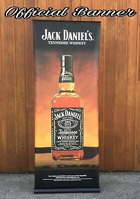 Rare Over 7ft Pull Up Jack Daniels Old No.7 Vinyl Banner Official Sign Usa
