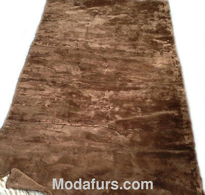 "New Sheared Beaver Fur Blanket Throw Bedspread Rug 47x88"" Plate"