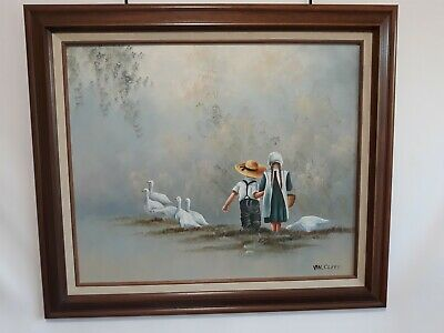 Estate Oil Painting On Canvas Amish Girl  & Boy Walking Feeding Geese Van. Cliff