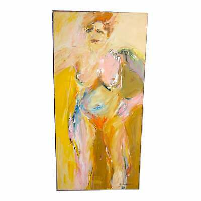 "1970s Vintage Suzanne Peters ""sunbather"" Nude Portrait Oil On Canvas Painting"