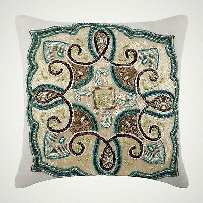 Blue Decorative Throw Pillow Covers 18x18 Inch, Cotton Linen- French Fiesta