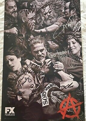 Sons Of Anarchy Cast Signed 2014 Sdcc Poster Boone Callie Coates Sagal Sutter +6