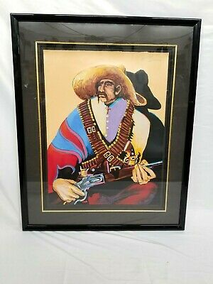 """""""pancho In His Sunday Best"""" By Earl Biss Signed Serigraph Framed W/ Certificates"""