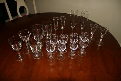 19 Piece Cocktail Cordial Glasses Barware Drinkware Glassware Mixed Sizes