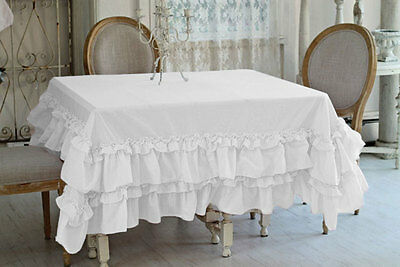 100% Egyptian Cotton Multi Ruffle Square 5pc Tablecloth Dinner Table Linen Solid