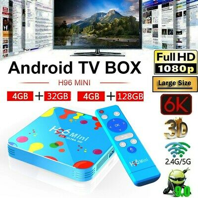 H96 Mini Android9.0 Smart Tv Box 6k Hdr Quad-core Wifi 128g Media Bt4.0 Lot B7z8