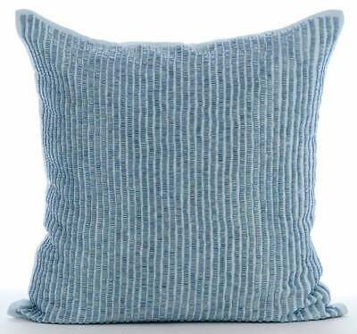"Blue Cotton Linen 22""x22"" Striped Beaded Throw Pillows Cover - Misty Blue"