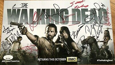 Walking Dead Cast Signed 2013 Sdcc Photo Lincoln Reedus Cohan Gurira Wilson Yuen